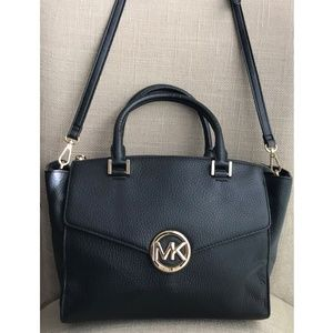 Michael Kors Vanna Black Leather Satchel Crossbody